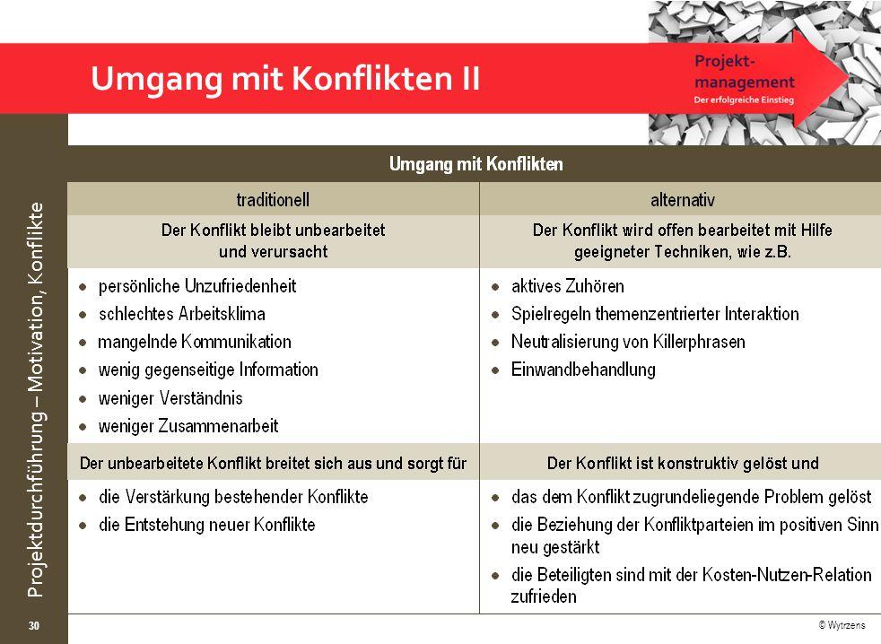 © Wytrzens Projektdurchführung – Motivation, Konflikte 30 Umgang mit Konflikten II