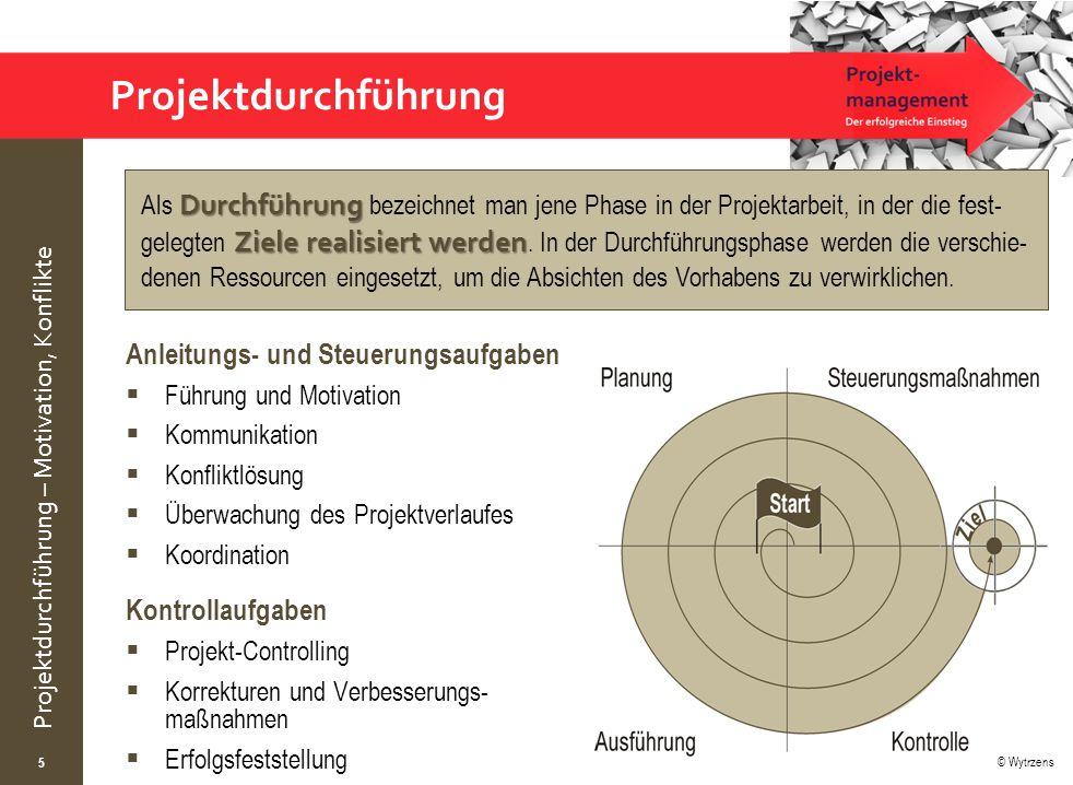 © Wytrzens Projektdurchführung – Motivation, Konflikte Projektdurchführung Anleitungs- und Steuerungsaufgaben  Führung und Motivation  Kommunikation