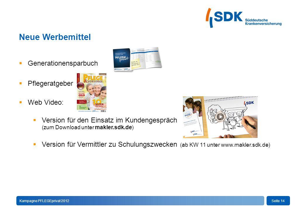 Seite 14Kampagne PFLEGEprivat 2012 Neue Werbemittel  Generationensparbuch  Pflegeratgeber  Web Video:  Version für den Einsatz im Kundengespräch (zum Download unter makler.sdk.de)  Version für Vermittler zu Schulungszwecken (ab KW 11 unter www.makler.sdk.de)