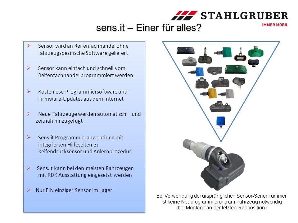 sens.it – Einer für alles?  Sensor wird an Reifenfachhandel ohne fahrzeugspezifische Software geliefert  Sensor kann einfach und schnell vom Reifenf