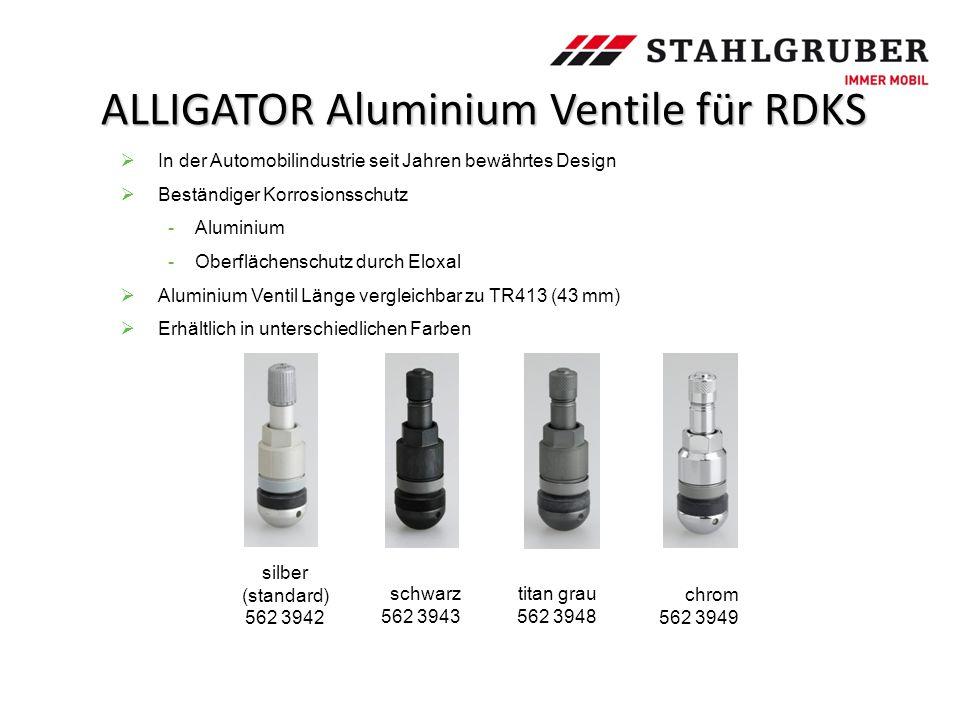 ALLIGATOR Aluminium Ventile für RDKS schwarz 562 3943 silber (standard) 562 3942  In der Automobilindustrie seit Jahren bewährtes Design  Beständige