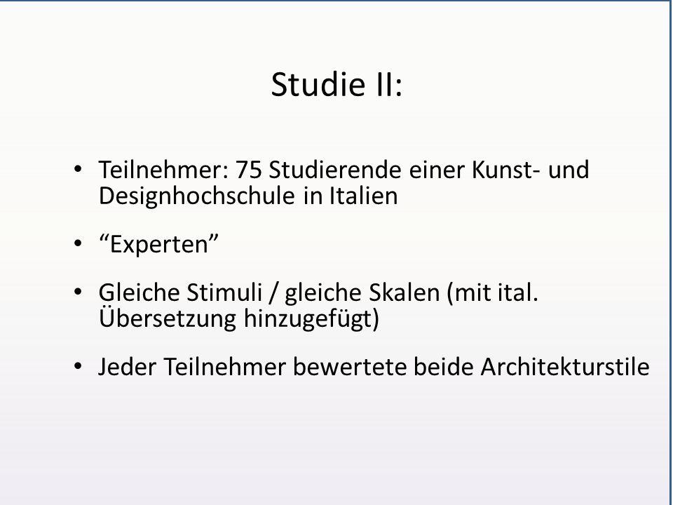 Studie II: Teilnehmer: 75 Studierende einer Kunst- und Designhochschule in Italien Experten Gleiche Stimuli / gleiche Skalen (mit ital.