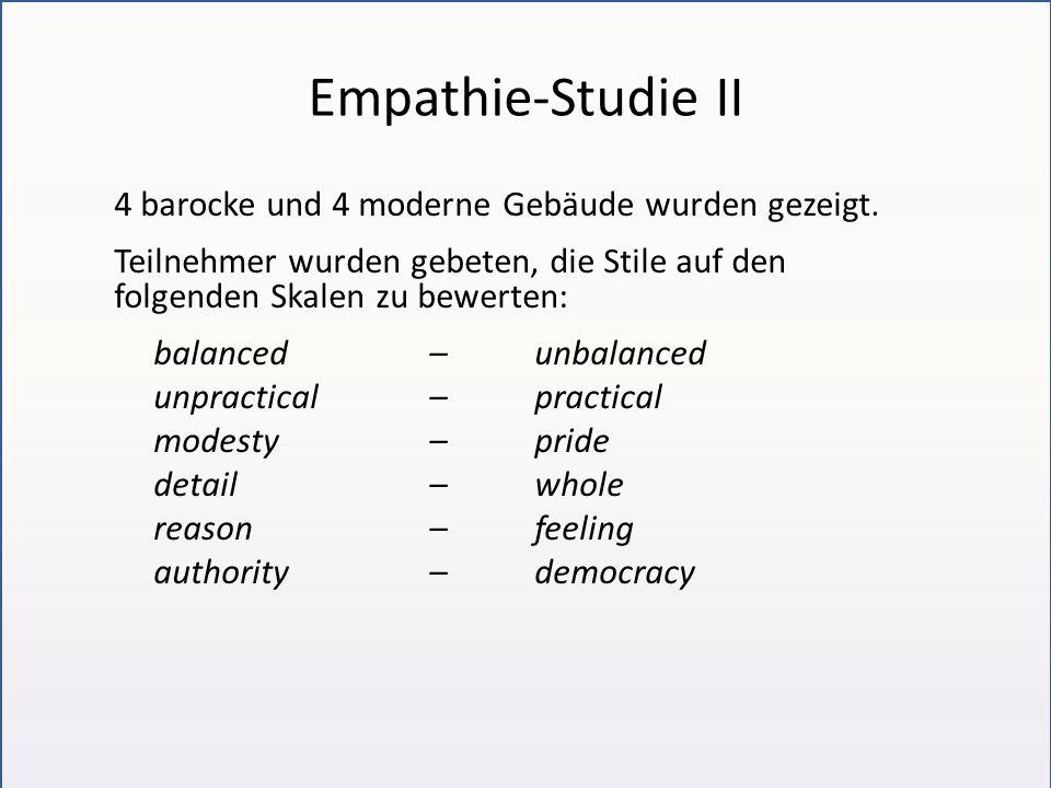 Empathie-Studie II 4 barocke und 4 moderne Gebäude wurden gezeigt.