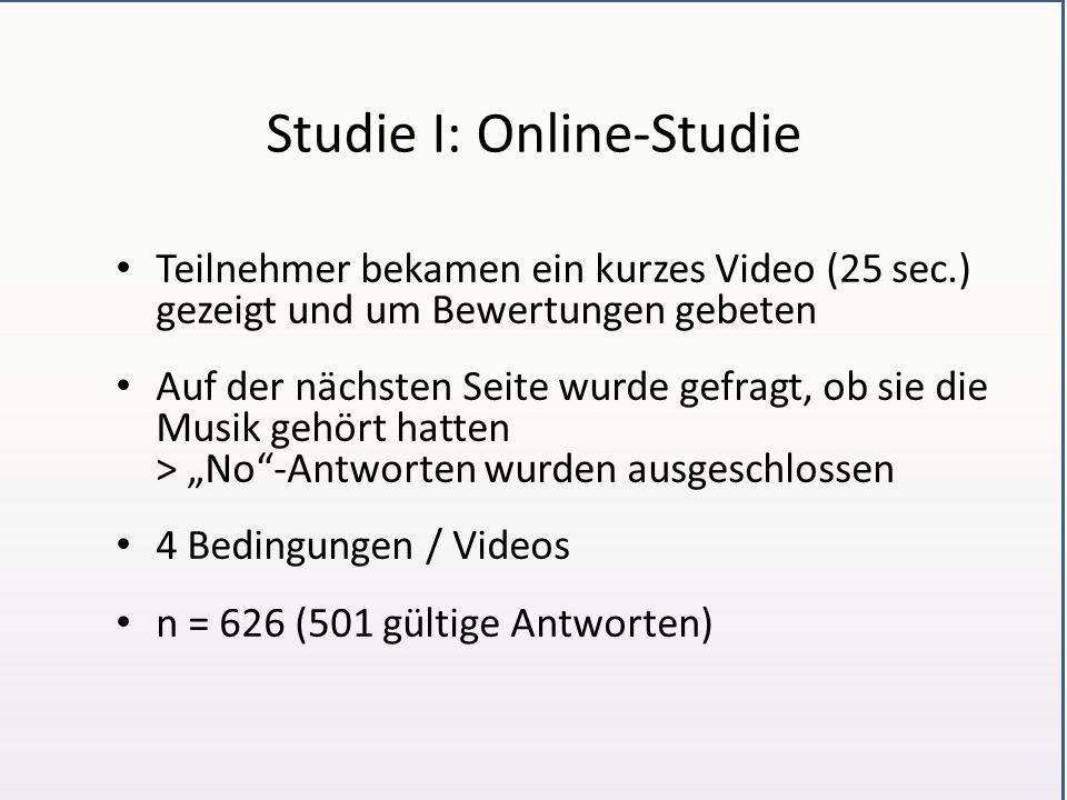 """Studie I: Online-Studie Teilnehmer bekamen ein kurzes Video (25 sec.) gezeigt und um Bewertungen gebeten Auf der nächsten Seite wurde gefragt, ob sie die Musik gehört hatten > """"No -Antworten wurden ausgeschlossen 4 Bedingungen / Videos n = 626 (501 gültige Antworten)"""