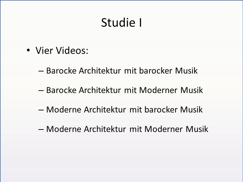 Studie I Vier Videos: – Barocke Architektur mit barocker Musik – Barocke Architektur mit Moderner Musik – Moderne Architektur mit barocker Musik – Moderne Architektur mit Moderner Musik