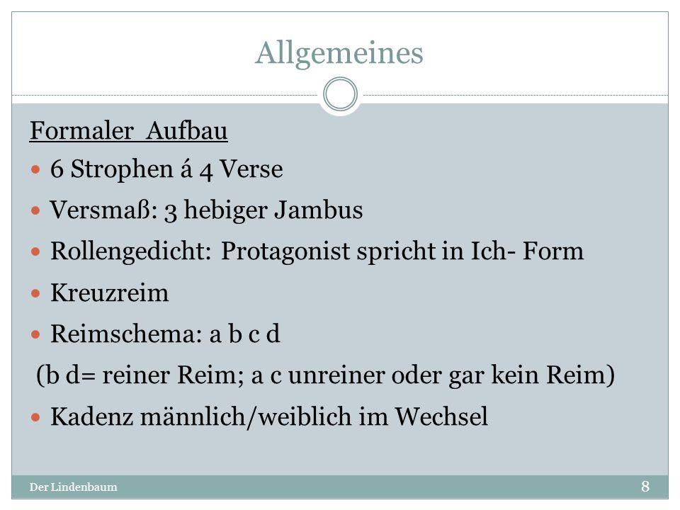 """Strophe I Der Lindenbaum 9 Motive:  Natur (Lindenbaum), Traumwelt (süße[r] Traum) Symbole  Brunnen lebensspendend, sozialer Treffpunkt, Wachstum, Liebe  Lindenbaum Harmonie, Schutz, Festlichkeit, Treffpunkt für Liebende V.4: """" so manches -> Wiederholung (siehe Strophe 2) V.4: """"süßen Traum -> Personifikation -> dient zur Romantisierung (vlt."""