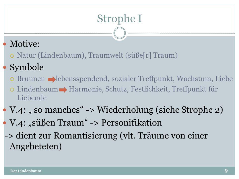 """Strophe II Der Lindenbaum 10 Motive:  Liebe (liebe[s] Wort), Emotionen (Freud und Leid) V.5: """" ich -> Anapher ( siehe Strophe 3) V.7-8: """"es zog zu ihm mich immer fort ->Inversion -> Protagonist zeigt Zugehörigkeit zu seinem Baum V.6: """"liebe Wort -> Personifikation -> zur Romantisierung (an Angebetete gerichtet) V.7: """"Freund und Leide -> Kontrast -> verdeutlicht wie sehr er sich zu dem Baum hingezogen fühlt"""