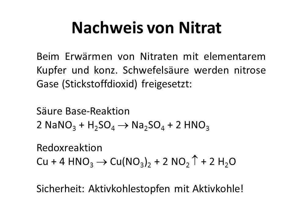 Nachweis von Nitrat Beim Erwärmen von Nitraten mit elementarem Kupfer und konz. Schwefelsäure werden nitrose Gase (Stickstoffdioxid) freigesetzt: Säur