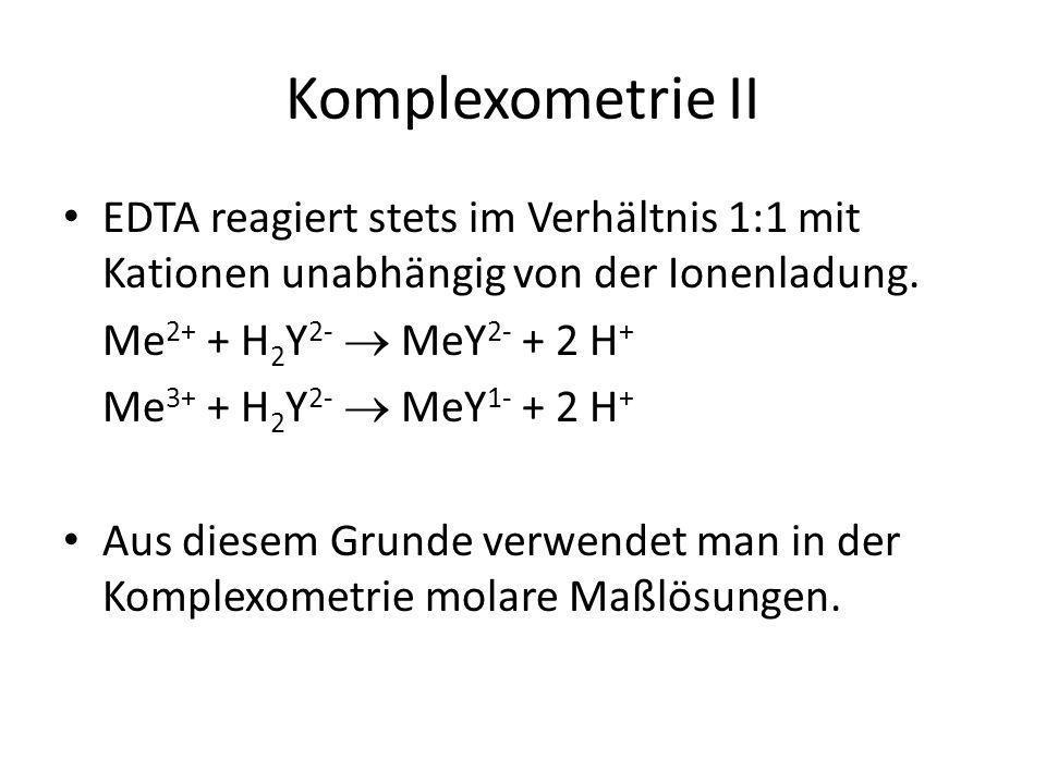 Komplexometrie II EDTA reagiert stets im Verhältnis 1:1 mit Kationen unabhängig von der Ionenladung. Me 2+ + H 2 Y 2-  MeY 2- + 2 H + Me 3+ + H 2 Y 2