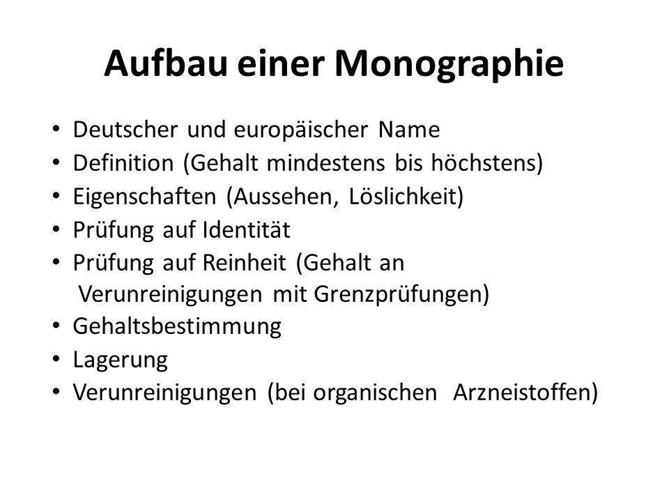 Aufbau einer Monographie Deutscher und europäischer Name Definition (Gehalt mindestens bis höchstens) Eigenschaften (Aussehen, Löslichkeit) Prüfung au
