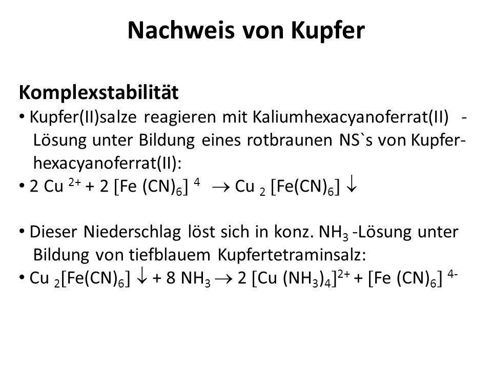 Nachweis von Kupfer Komplexstabilität Kupfer(II)salze reagieren mit Kaliumhexacyanoferrat(II) - Lösung unter Bildung eines rotbraunen NS`s von Kupfer-