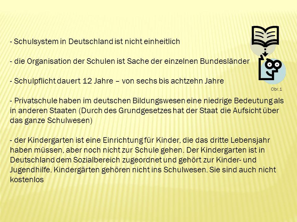- Schulsystem in Deutschland ist nicht einheitlich - die Organisation der Schulen ist Sache der einzelnen Bundesländer - Schulpflicht dauert 12 Jahre – von sechs bis achtzehn Jahre - Privatschule haben im deutschen Bildungswesen eine niedrige Bedeutung als in anderen Staaten (Durch des Grundgesetzes hat der Staat die Aufsicht über das ganze Schulwesen) - der Kindergarten ist eine Einrichtung für Kinder, die das dritte Lebensjahr haben müssen, aber noch nicht zur Schule gehen.