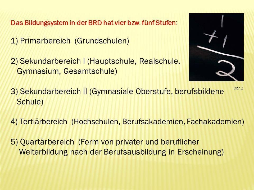 Das Bildungsystem in der BRD hat vier bzw.