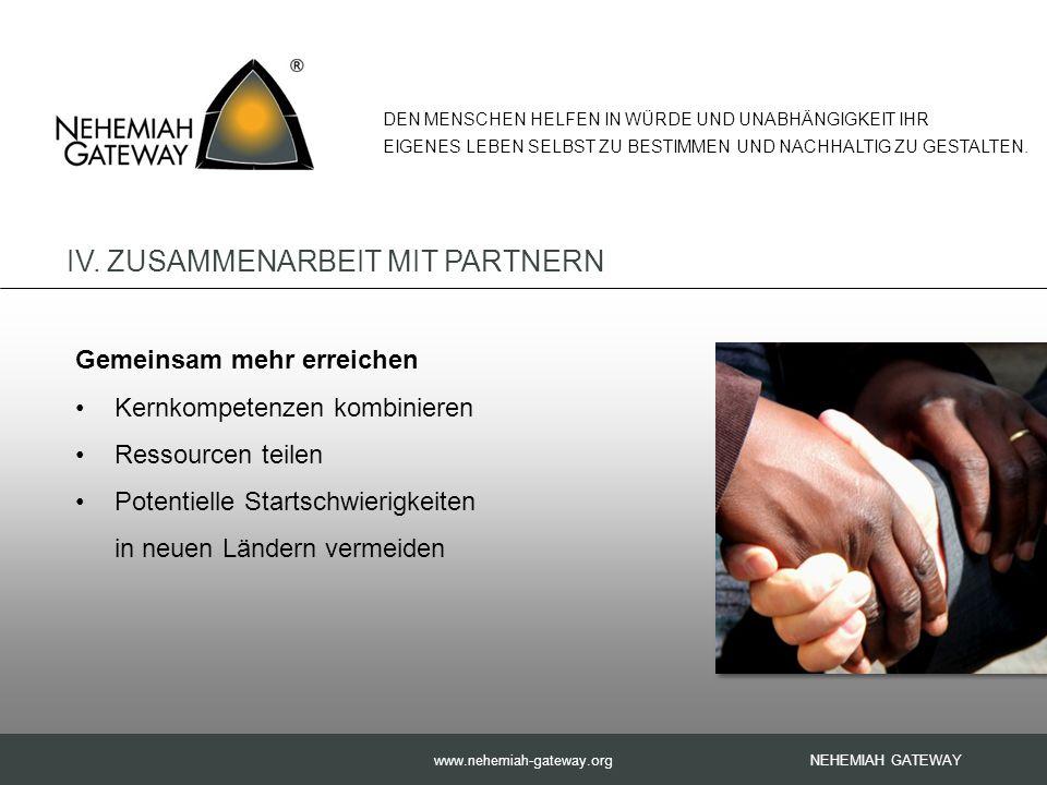 www.nehemiah-gateway.org Gemeinsam mehr erreichen Kernkompetenzen kombinieren Ressourcen teilen Potentielle Startschwierigkeiten in neuen Ländern vermeiden NEHEMIAH GATEWAY DEN MENSCHEN HELFEN IN WÜRDE UND UNABHÄNGIGKEIT IHR EIGENES LEBEN SELBST ZU BESTIMMEN UND NACHHALTIG ZU GESTALTEN.