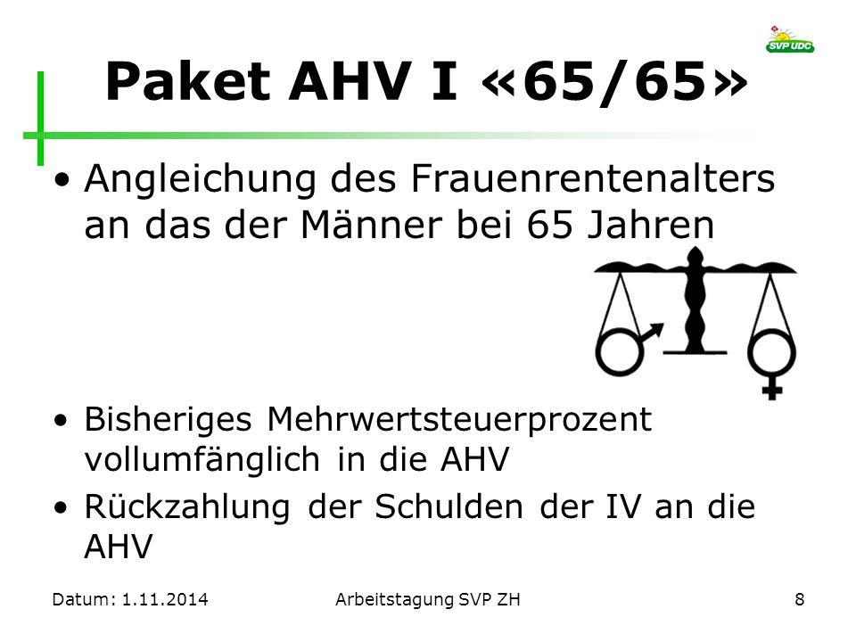 Paket AHV I «65/65» Angleichung des Frauenrentenalters an das der Männer bei 65 Jahren Bisheriges Mehrwertsteuerprozent vollumfänglich in die AHV Rück