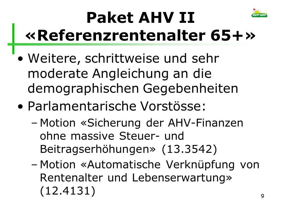 Paket AHV II «Referenzrentenalter 65+» Weitere, schrittweise und sehr moderate Angleichung an die demographischen Gegebenheiten Parlamentarische Vorst