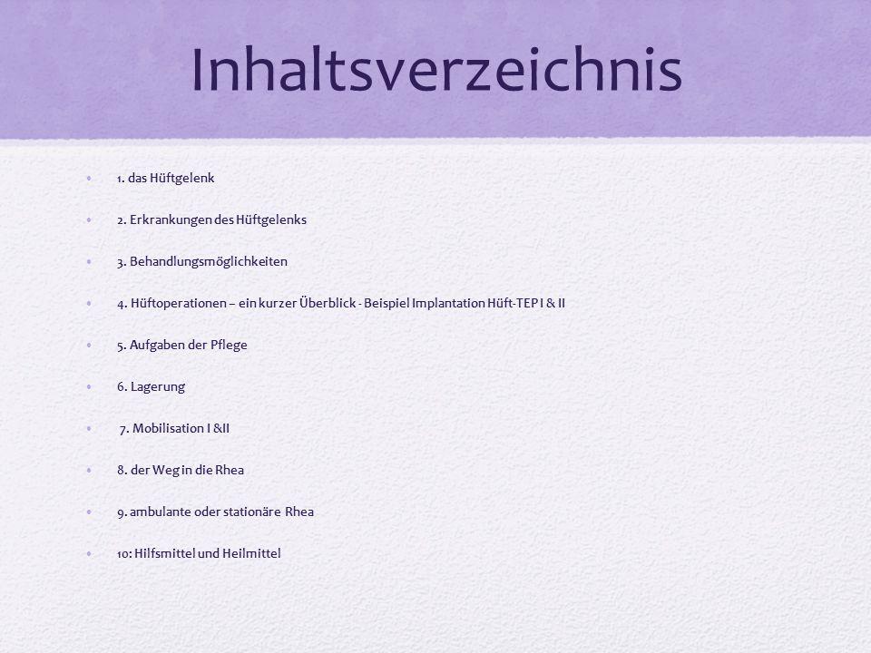 Inhaltsverzeichnis 1. das Hüftgelenk 2. Erkrankungen des Hüftgelenks 3. Behandlungsmöglichkeiten 4. Hüftoperationen – ein kurzer Überblick - Beispiel
