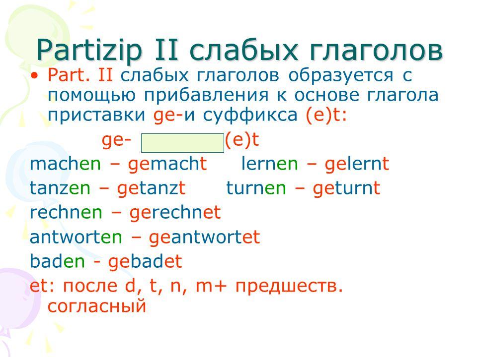 Partizip II слабых глаголов Part. II слабых глаголов образуется с помощью прибавления к основе глагола приставки ge-и суффикса (е)t: ge- (e)t machen –