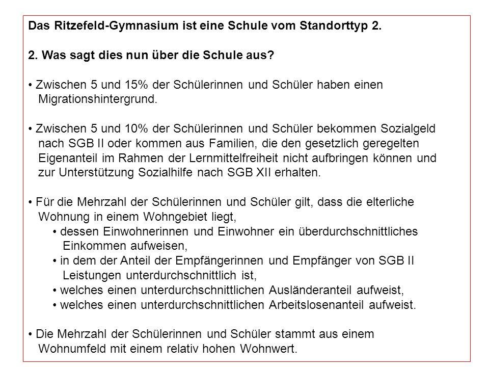 Das Ritzefeld-Gymnasium ist eine Schule vom Standorttyp 2. 2. Was sagt dies nun über die Schule aus? Zwischen 5 und 15% der Schülerinnen und Schüler h
