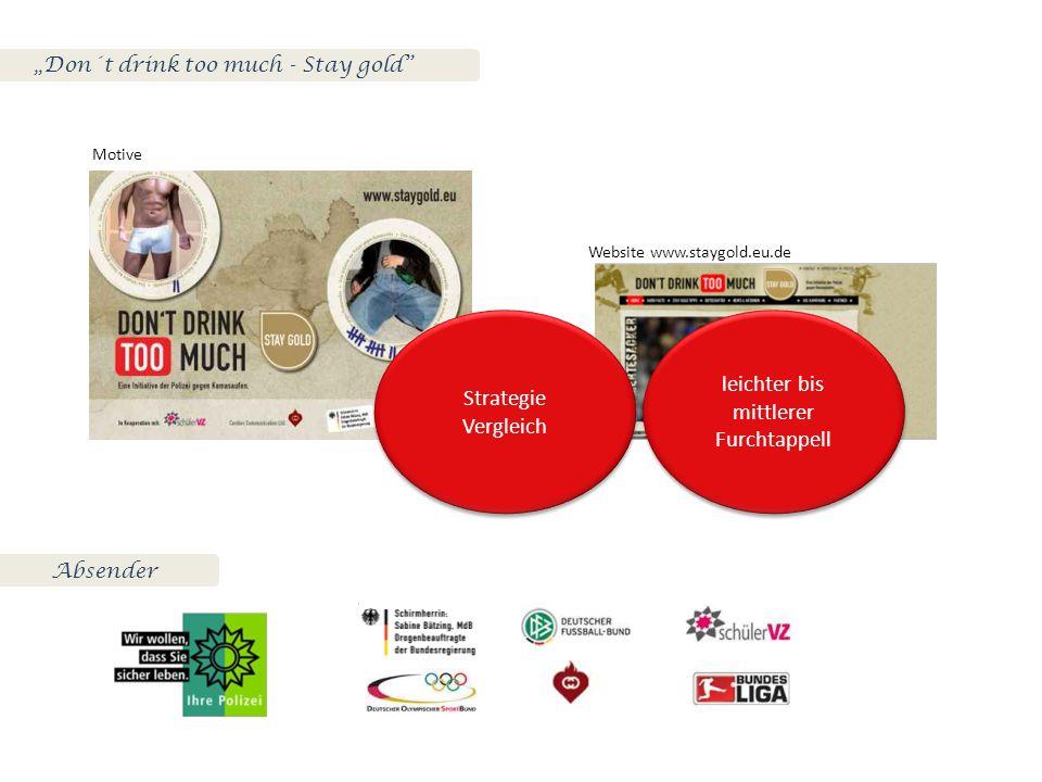 """""""Don´t drink too much - Stay gold Motive Website www.staygold.eu.de Strategie Vergleich Strategie Vergleich leichter bis mittlerer Furchtappell leichter bis mittlerer Furchtappell Absender"""