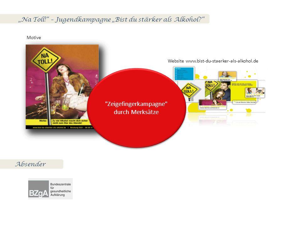"""Na Toll! – Jugendkampagne ""Bist du stärker als Alkohol? Motive Website www.bist-du-staerker-als-alkohol.de Zeigefingerkampagne durch Merksätze Absender"
