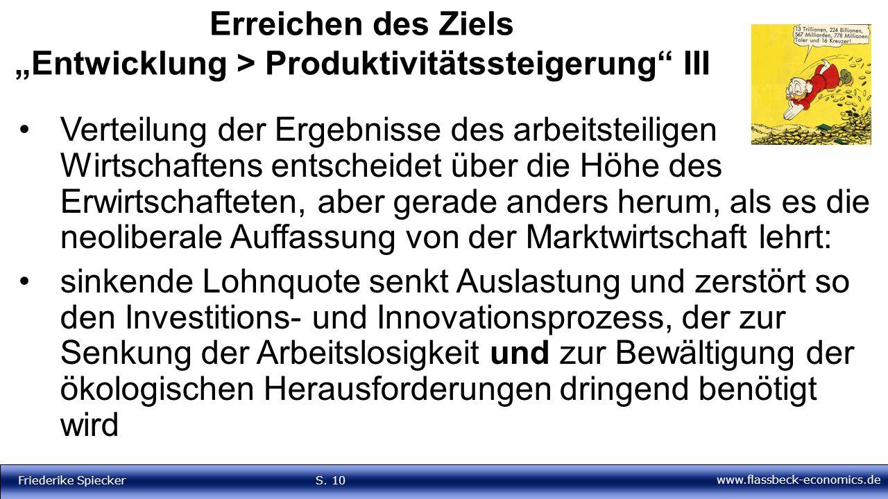 """www.flassbeck-economics.de Friederike Spiecker S. 10 Erreichen des Ziels """"Entwicklung > Produktivitätssteigerung"""" III Verteilung der Ergebnisse des ar"""