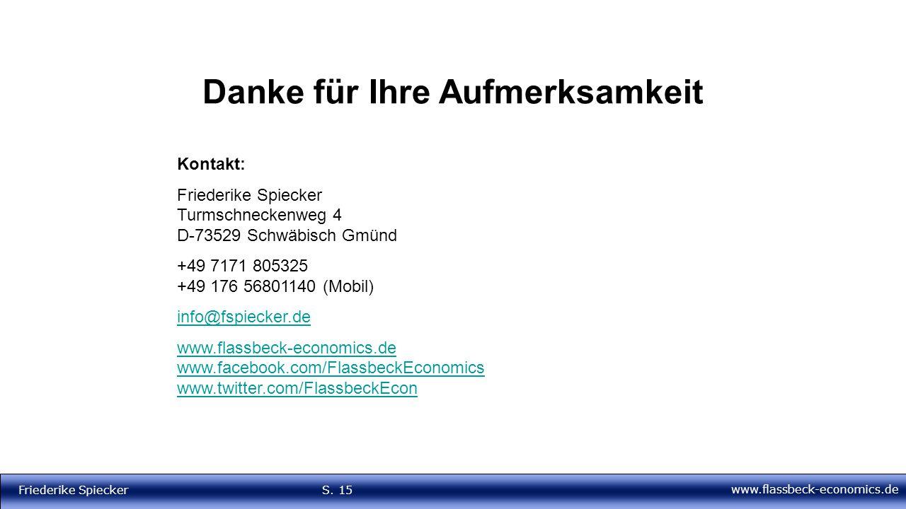www.flassbeck-economics.de Friederike Spiecker S. 15 Danke für Ihre Aufmerksamkeit Kontakt: Friederike Spiecker Turmschneckenweg 4 D-73529 Schwäbisch