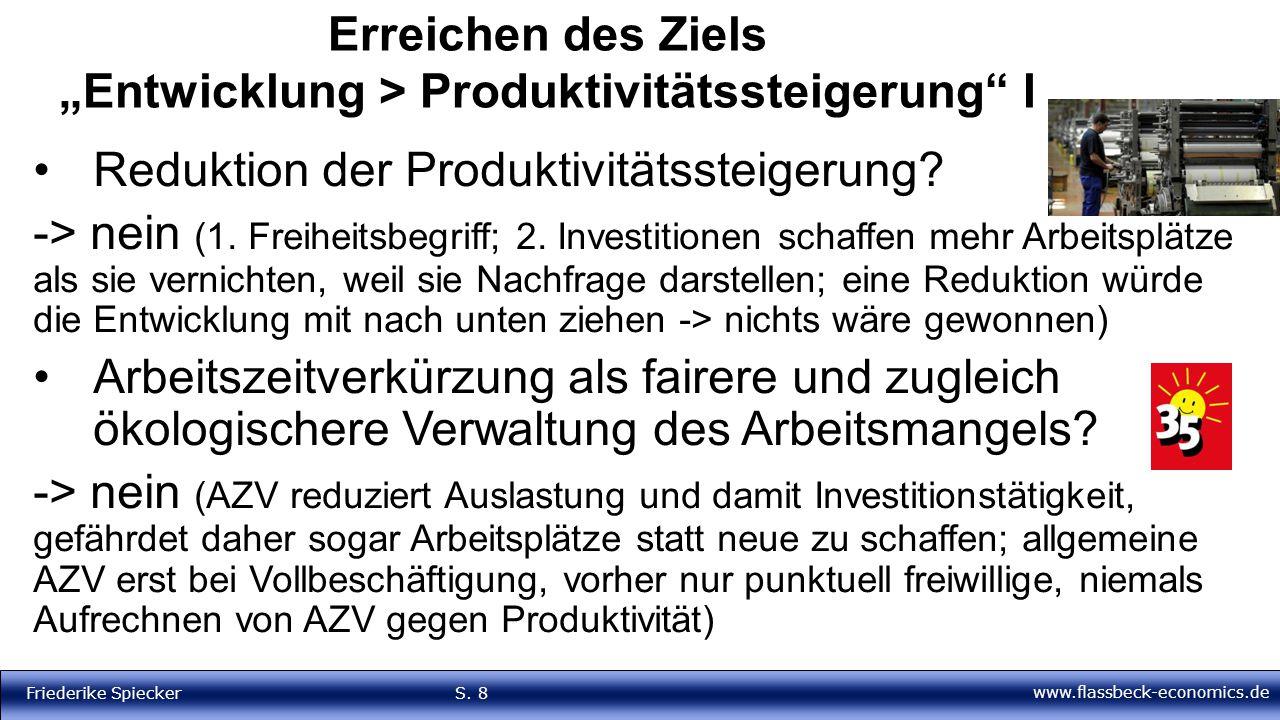 """www.flassbeck-economics.de Friederike Spiecker S. 8 Erreichen des Ziels """"Entwicklung > Produktivitätssteigerung"""" I Reduktion der Produktivitätssteiger"""