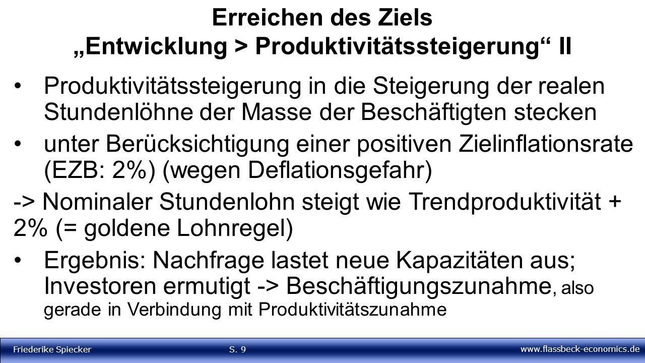 """www.flassbeck-economics.de Friederike Spiecker S. 9 Erreichen des Ziels """"Entwicklung > Produktivitätssteigerung"""" II Produktivitätssteigerung in die St"""