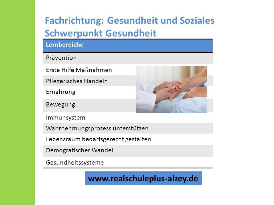 Fachrichtung: Gesundheit und Soziales Schwerpunkt Gesundheit Lernbereiche Prävention Erste Hilfe Maßnahmen Pflegerisches Handeln Ernährung Bewegung Im