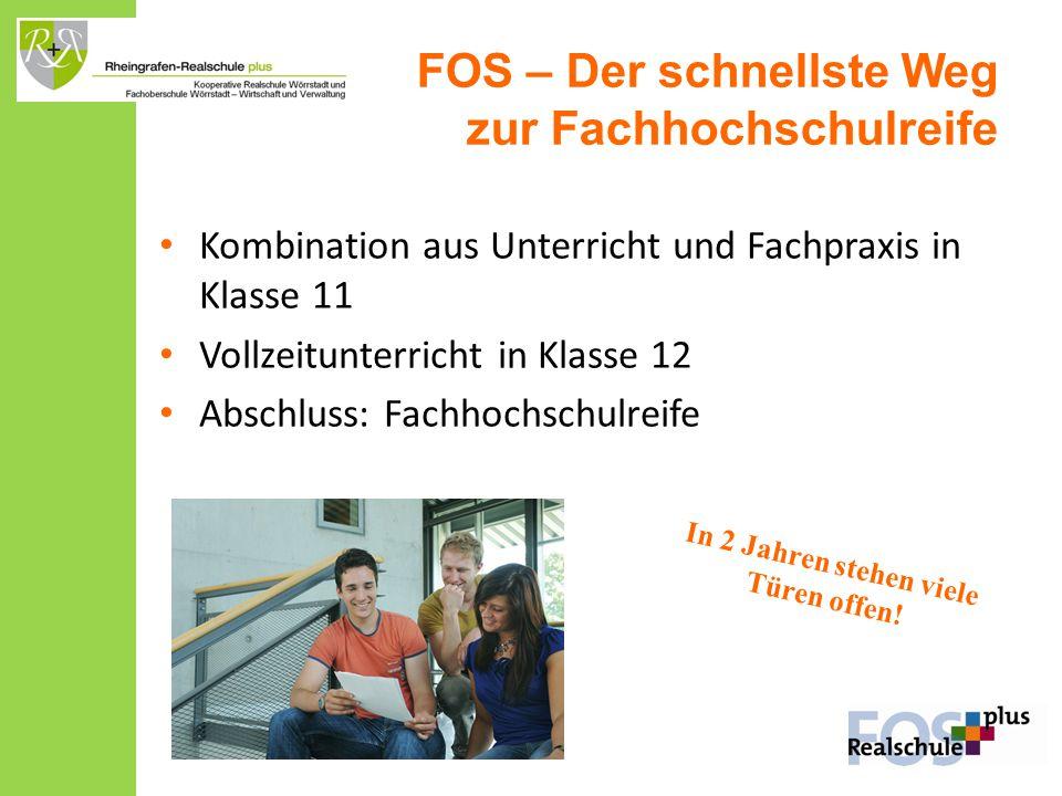 FOS – Der schnellste Weg zur Fachhochschulreife Kombination aus Unterricht und Fachpraxis in Klasse 11 Vollzeitunterricht in Klasse 12 Abschluss: Fach