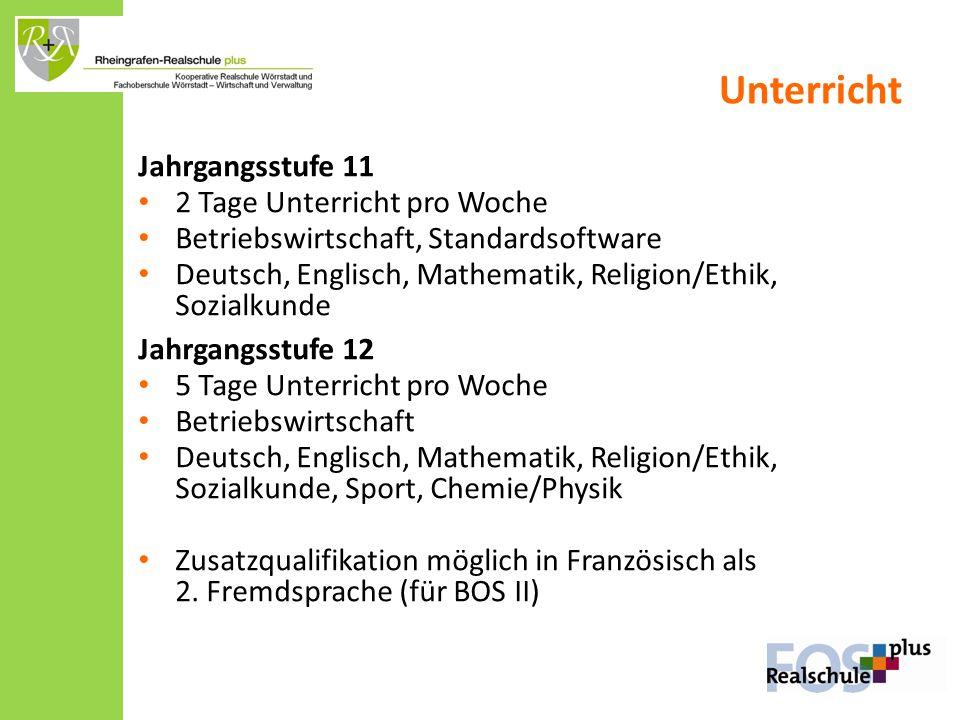 Unterricht Jahrgangsstufe 11 2 Tage Unterricht pro Woche Betriebswirtschaft, Standardsoftware Deutsch, Englisch, Mathematik, Religion/Ethik, Sozialkun