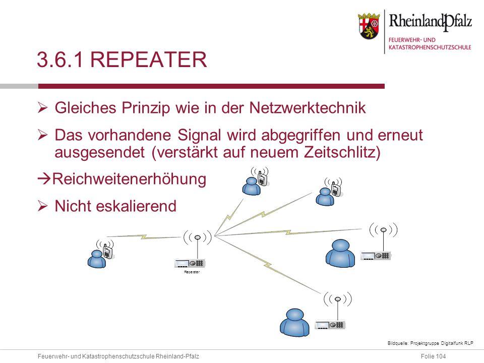 Folie 104Feuerwehr- und Katastrophenschutzschule Rheinland-Pfalz 3.6.1 REPEATER  Gleiches Prinzip wie in der Netzwerktechnik  Das vorhandene Signal
