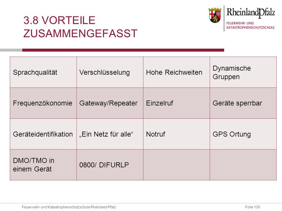 Folie 138Feuerwehr- und Katastrophenschutzschule Rheinland-Pfalz 3.8 VORTEILE ZUSAMMENGEFASST SprachqualitätVerschlüsselungHohe Reichweiten Dynamische