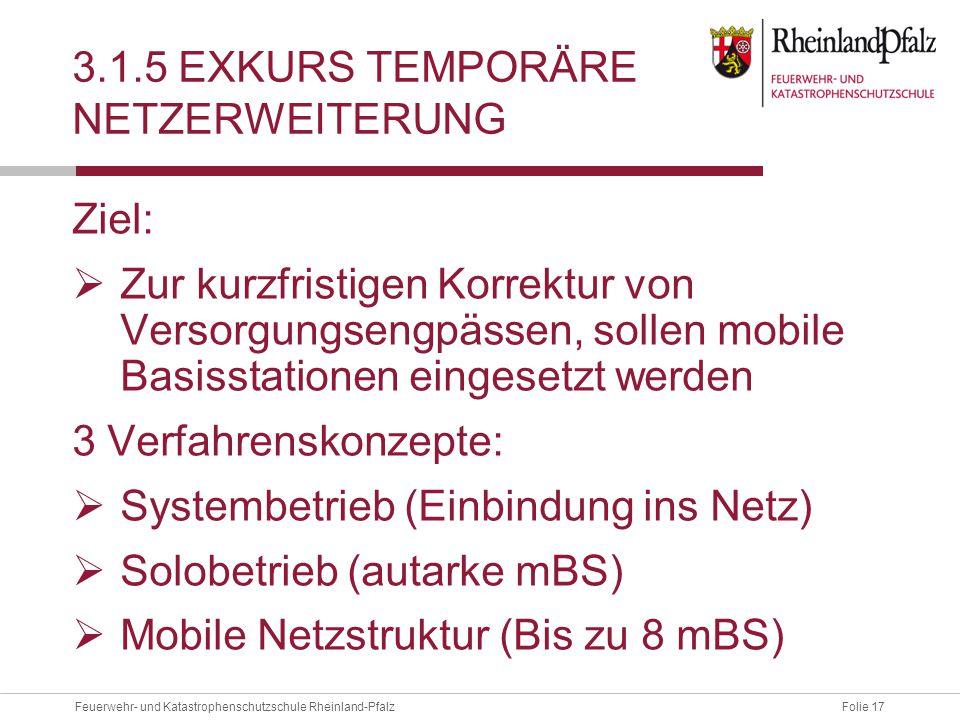 Folie 17Feuerwehr- und Katastrophenschutzschule Rheinland-Pfalz 3.1.5 EXKURS TEMPORÄRE NETZERWEITERUNG Ziel:  Zur kurzfristigen Korrektur von Versorg