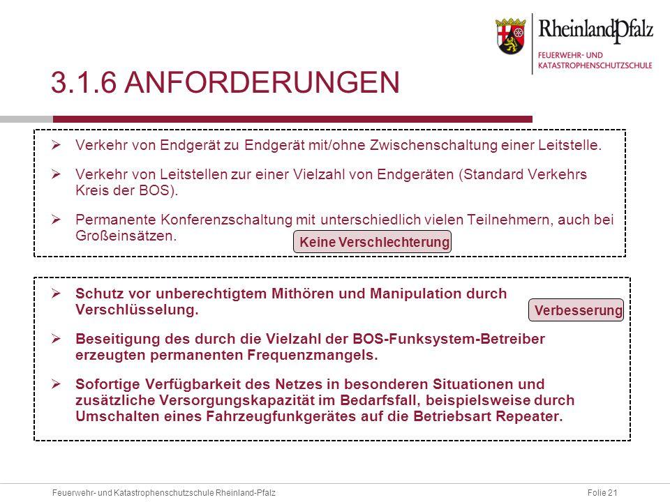 Folie 21Feuerwehr- und Katastrophenschutzschule Rheinland-Pfalz 3.1.6 ANFORDERUNGEN  Verkehr von Endgerät zu Endgerät mit/ohne Zwischenschaltung eine