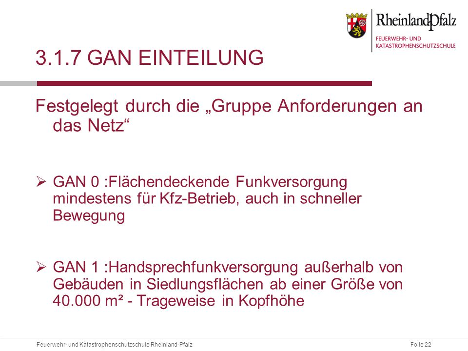 """Folie 22Feuerwehr- und Katastrophenschutzschule Rheinland-Pfalz 3.1.7 GAN EINTEILUNG Festgelegt durch die """"Gruppe Anforderungen an das Netz""""  GAN 0 :"""