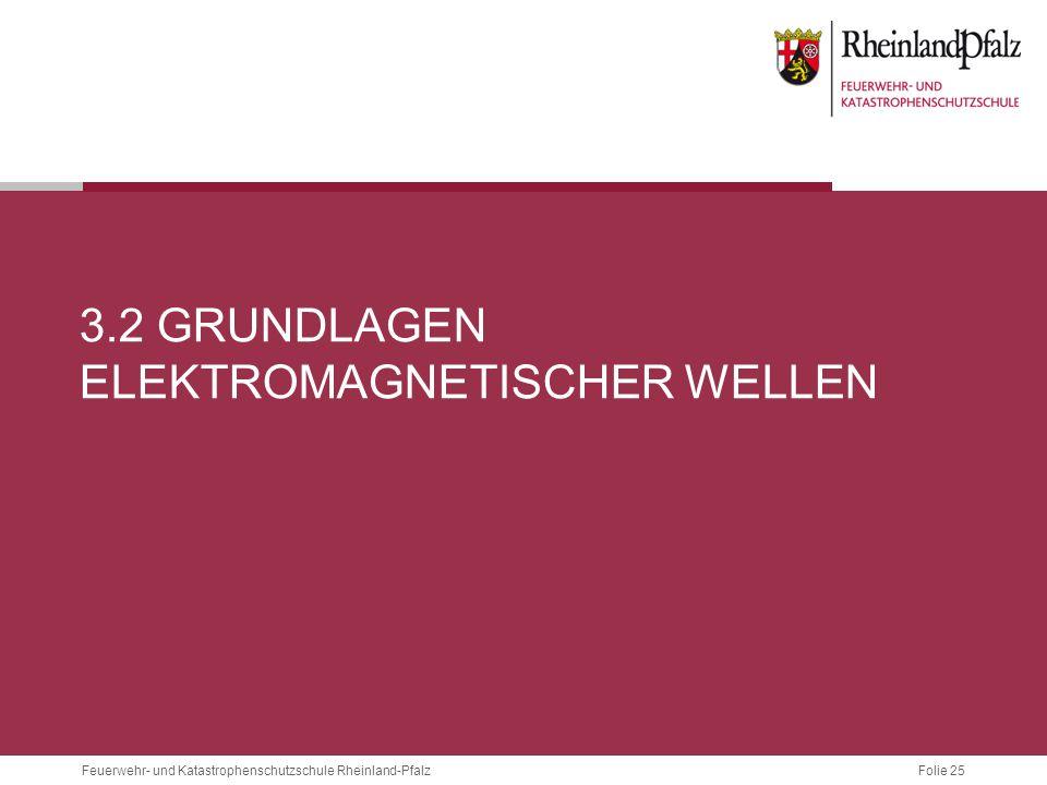 Folie 25 Feuerwehr- und Katastrophenschutzschule Rheinland-Pfalz 3.2 GRUNDLAGEN ELEKTROMAGNETISCHER WELLEN