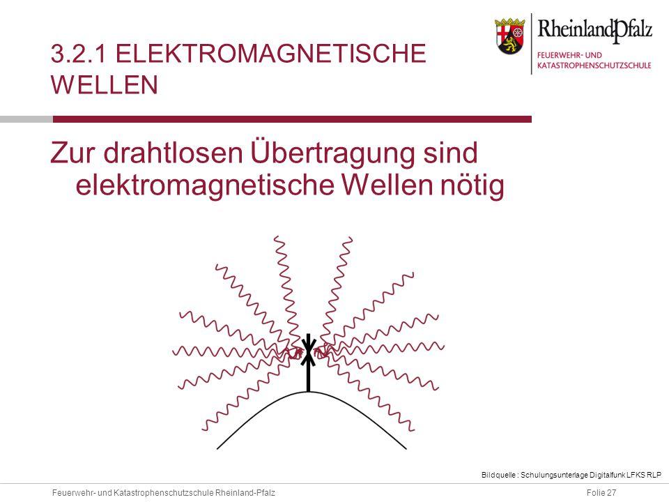 Folie 27Feuerwehr- und Katastrophenschutzschule Rheinland-Pfalz 3.2.1 ELEKTROMAGNETISCHE WELLEN Zur drahtlosen Übertragung sind elektromagnetische Wel