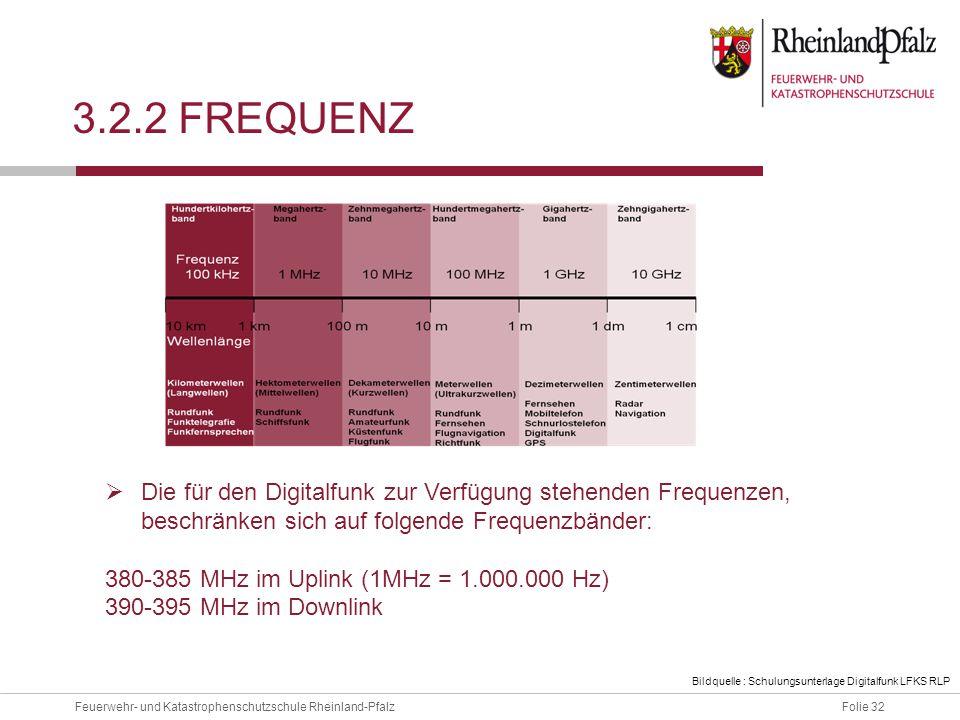 Folie 32Feuerwehr- und Katastrophenschutzschule Rheinland-Pfalz 3.2.2 FREQUENZ  Die für den Digitalfunk zur Verfügung stehenden Frequenzen, beschränk