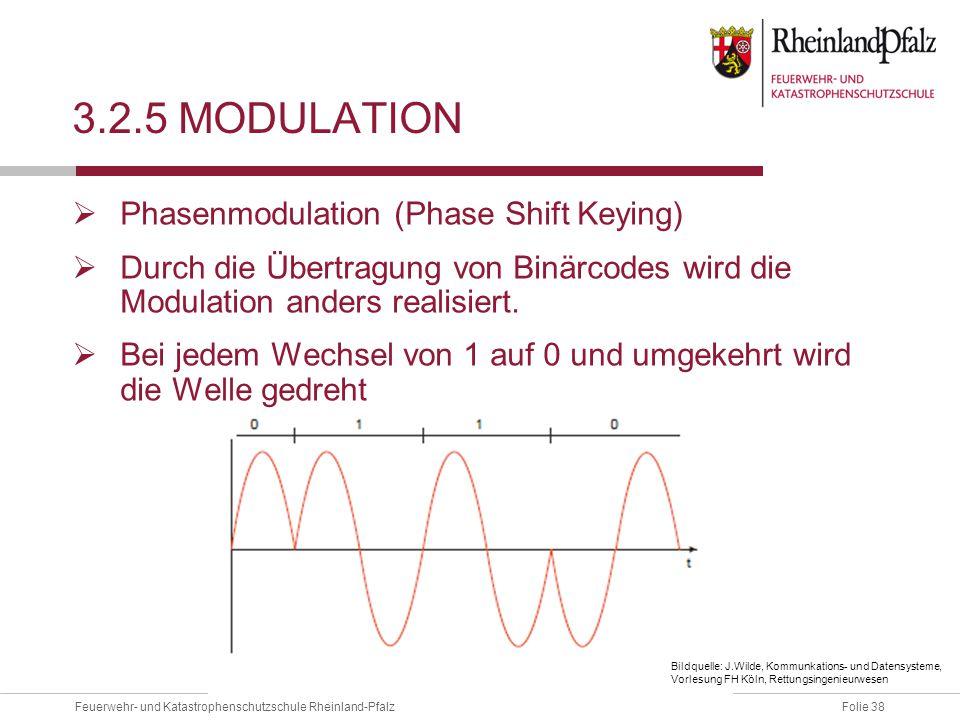 Folie 38Feuerwehr- und Katastrophenschutzschule Rheinland-Pfalz 3.2.5 MODULATION  Phasenmodulation (Phase Shift Keying)  Durch die Übertragung von B