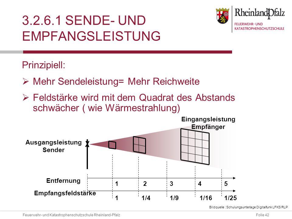 Folie 42Feuerwehr- und Katastrophenschutzschule Rheinland-Pfalz 3.2.6.1 SENDE- UND EMPFANGSLEISTUNG Prinzipiell:  Mehr Sendeleistung= Mehr Reichweite