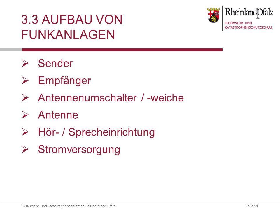 Folie 51Feuerwehr- und Katastrophenschutzschule Rheinland-Pfalz 3.3 AUFBAU VON FUNKANLAGEN  Sender  Empfänger  Antennenumschalter / -weiche  Anten