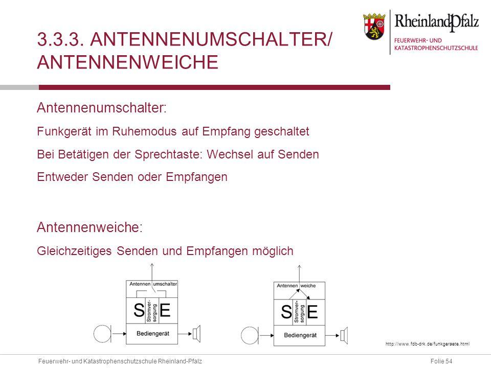 Folie 54Feuerwehr- und Katastrophenschutzschule Rheinland-Pfalz 3.3.3. ANTENNENUMSCHALTER/ ANTENNENWEICHE Antennenumschalter: Funkgerät im Ruhemodus a