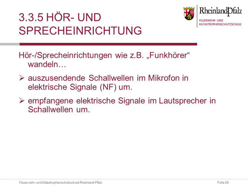 """Folie 58Feuerwehr- und Katastrophenschutzschule Rheinland-Pfalz 3.3.5 HÖR- UND SPRECHEINRICHTUNG Hör-/Sprecheinrichtungen wie z.B. """"Funkhörer"""" wandeln"""