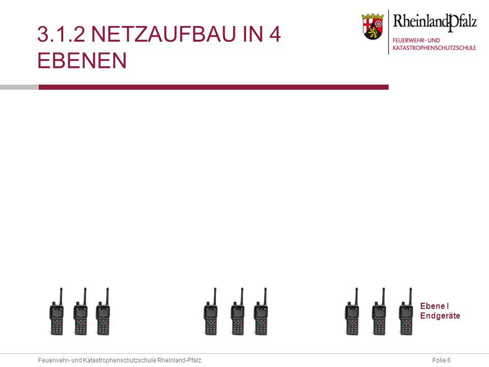 Folie 17Feuerwehr- und Katastrophenschutzschule Rheinland-Pfalz 3.1.5 EXKURS TEMPORÄRE NETZERWEITERUNG Ziel:  Zur kurzfristigen Korrektur von Versorgungsengpässen, sollen mobile Basisstationen eingesetzt werden 3 Verfahrenskonzepte:  Systembetrieb (Einbindung ins Netz)  Solobetrieb (autarke mBS)  Mobile Netzstruktur (Bis zu 8 mBS)