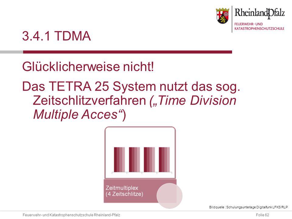 Folie 62Feuerwehr- und Katastrophenschutzschule Rheinland-Pfalz 3.4.1 TDMA Glücklicherweise nicht! Das TETRA 25 System nutzt das sog. Zeitschlitzverfa
