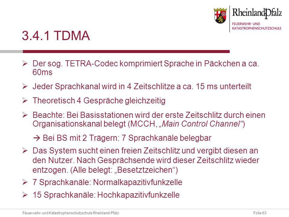 Folie 63Feuerwehr- und Katastrophenschutzschule Rheinland-Pfalz 3.4.1 TDMA  Der sog. TETRA-Codec komprimiert Sprache in Päckchen a ca. 60ms  Jeder S
