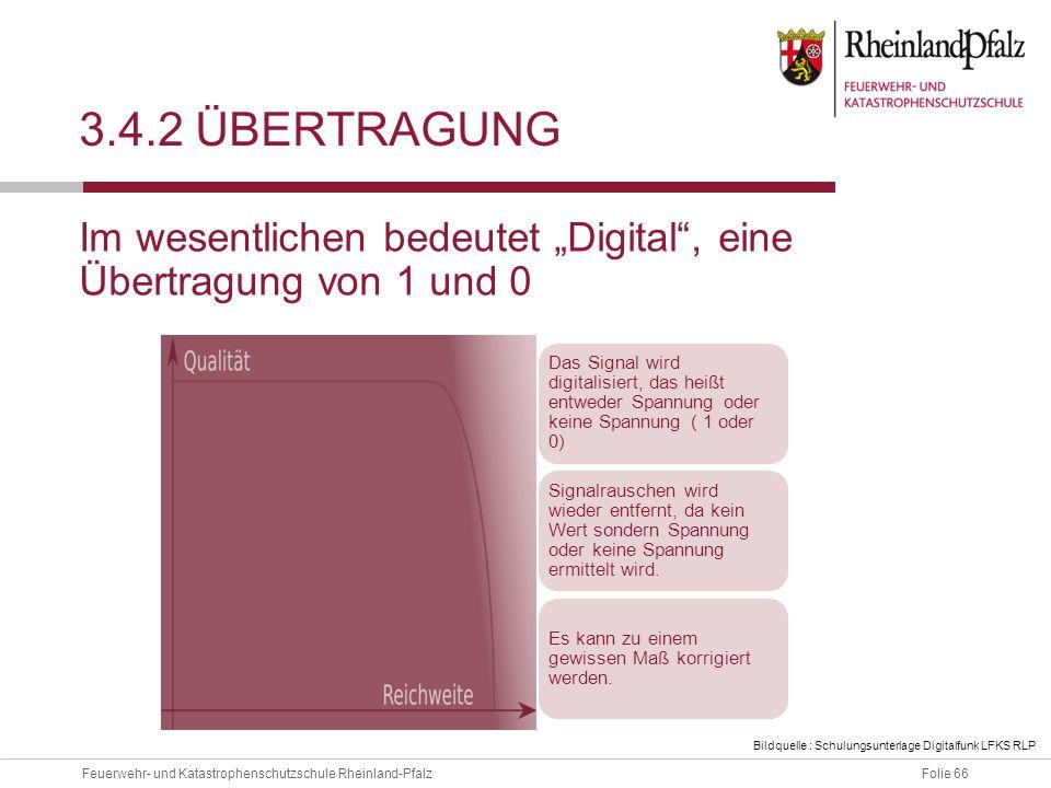 """Folie 66Feuerwehr- und Katastrophenschutzschule Rheinland-Pfalz 3.4.2 ÜBERTRAGUNG Im wesentlichen bedeutet """"Digital"""", eine Übertragung von 1 und 0 Das"""