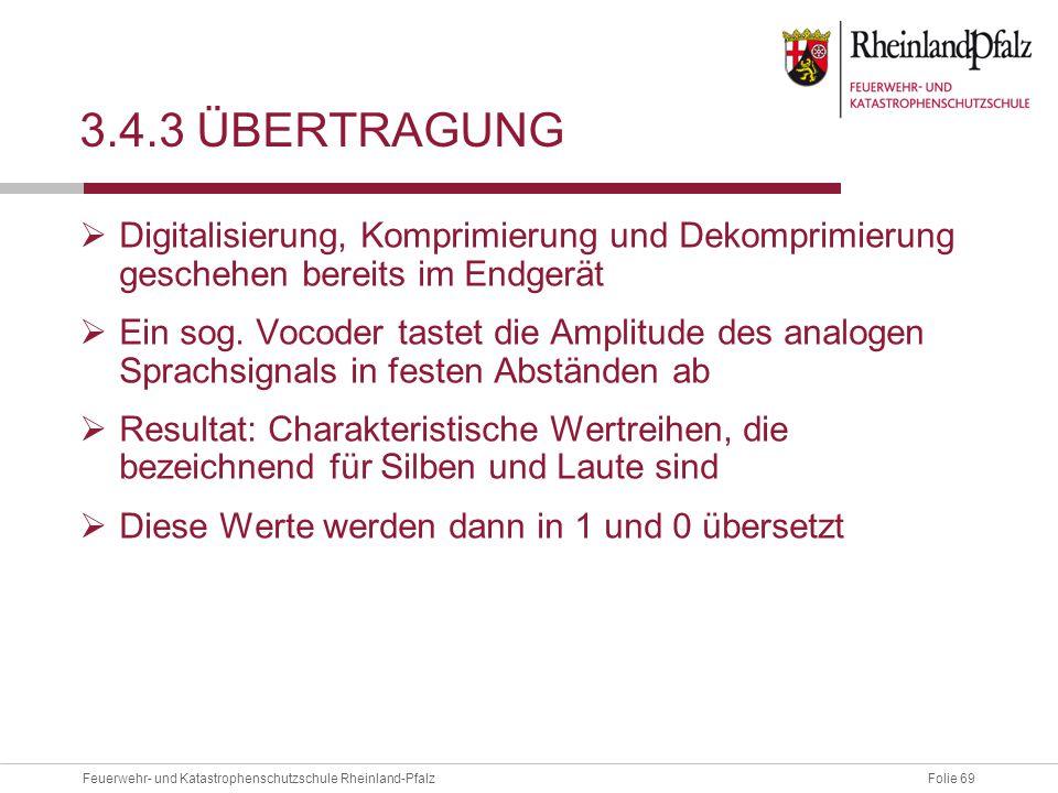 Folie 69Feuerwehr- und Katastrophenschutzschule Rheinland-Pfalz 3.4.3 ÜBERTRAGUNG  Digitalisierung, Komprimierung und Dekomprimierung geschehen berei